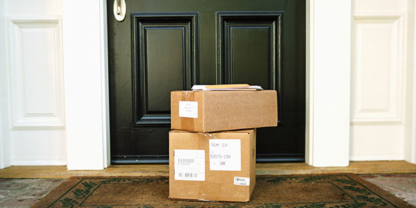 photo of packages at the front door